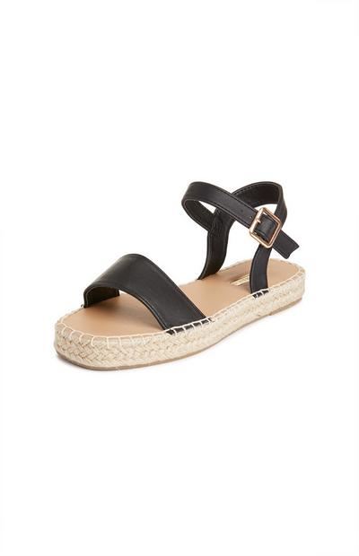 Black Ankle Strap Jute Sandals