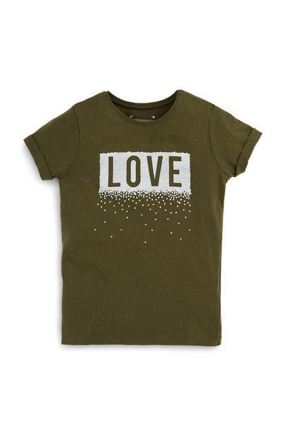 T-shirt kaki Love ado
