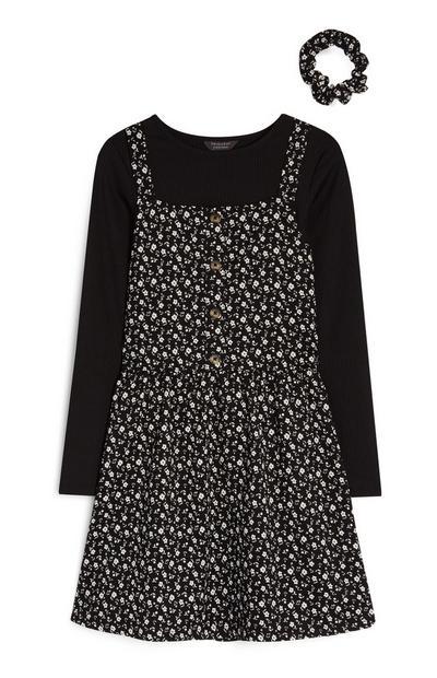 Schwarzes 3-in-1-Kleid mit Blumenmuster und Haargummi (Teeny Girls)