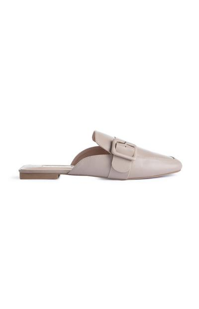Cream Faux Leather Buckle Mules