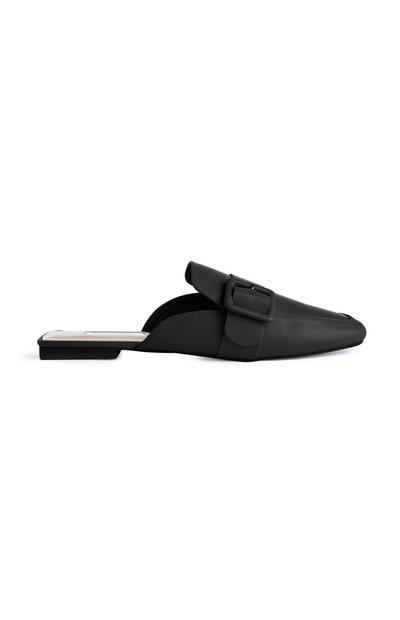 Black Faux Leather Buckle Mules