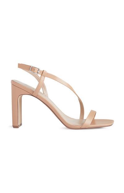 Beige Ankle Strap Heeled Sandal