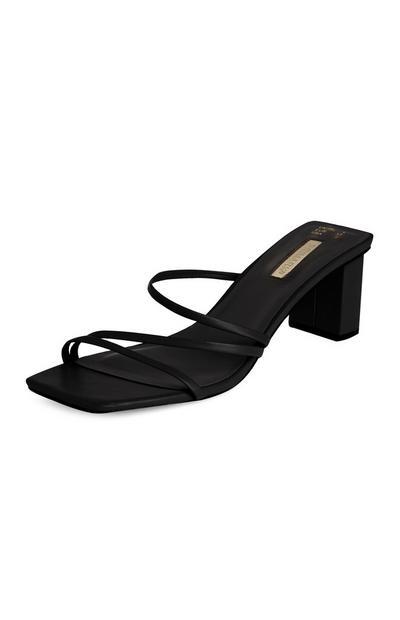 Sandálias salto alto tiras preto