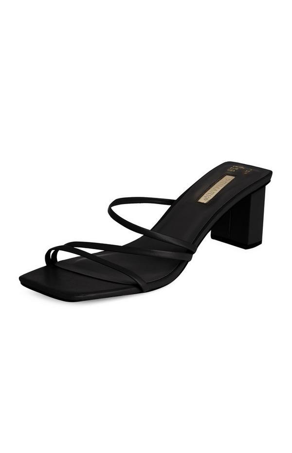 Black 3 Strap Block Heel Mule Sandals