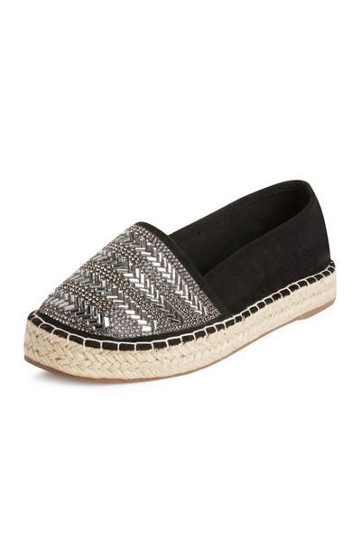 Black Gem Mirror Espadrilles
