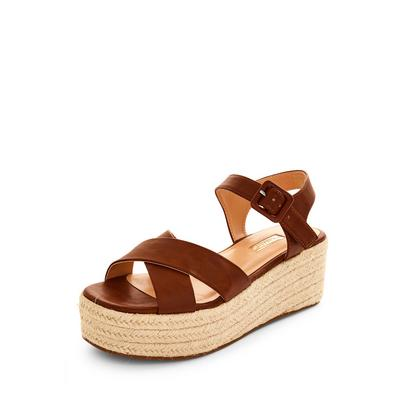 Borwn Jute Flatform Wedge Sandals