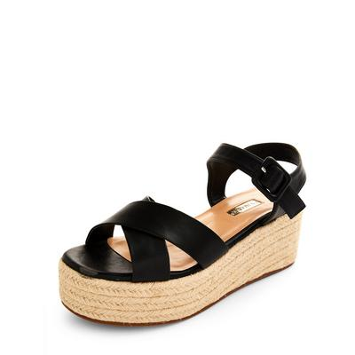 Black Jute Flatform Wedge Sandals