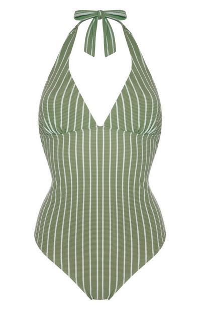 Bañador moldeador verde a rayas verticales atado al cuello