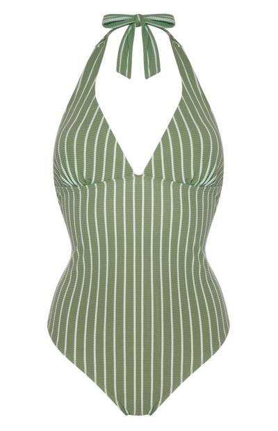 Green Vertical Stripe Halter Neck Control Swimsuit