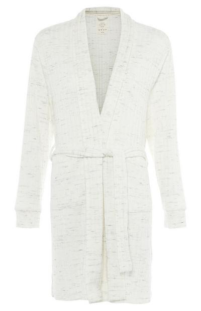 White Ribbed Belted Robe