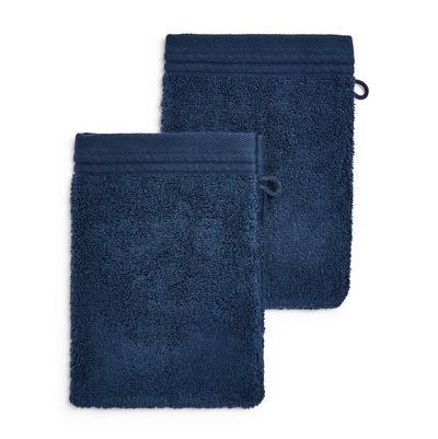 Lot de 2 gants de toilette bleu marine ultra-doux
