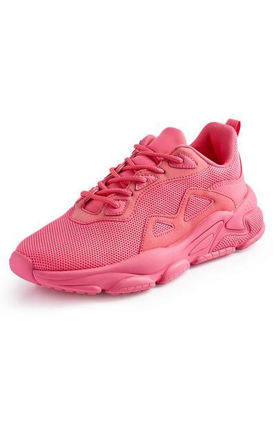 Neonsko rožnati mrežasti športni copati z debelim podplatom