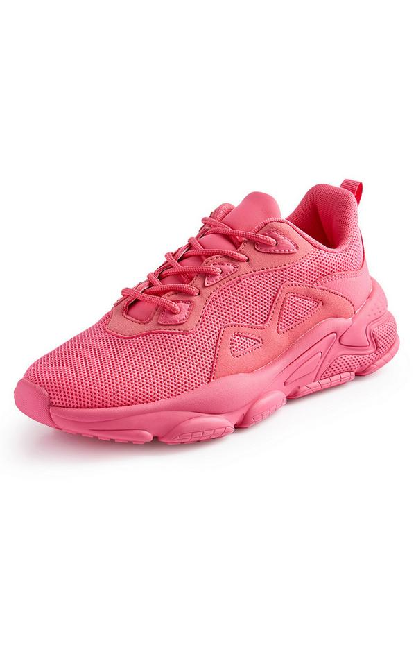 Neon Pink Mesh Mix Chunky Sneakers