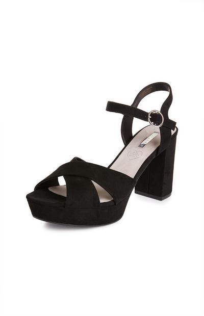 Zwarte sandalen met halfhoge platformzool
