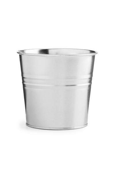 Silver Tin Plant Pot