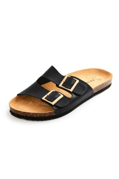 Black Double Strap Footbed Sandals