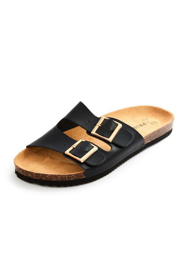 Black Double Strap Footbed Sandals
