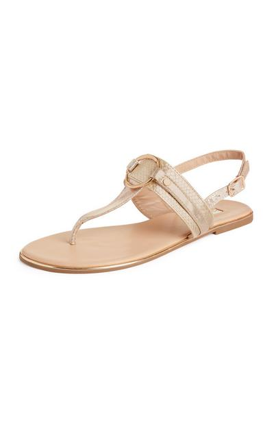 Gold Metal Circle Thong Sandals