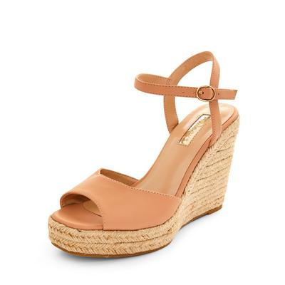 Beige Single Strap Wedge Sandals