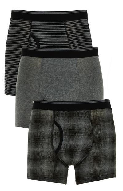 Pack 3 boxers padrão xadrez sombreado cinzento