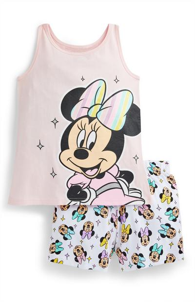 Older Girl Pink Minnie Mouse Short Pyjama Set