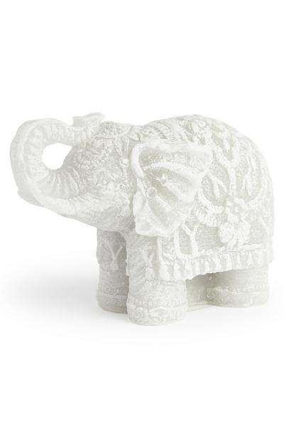 Candela bianca a forma di elefante