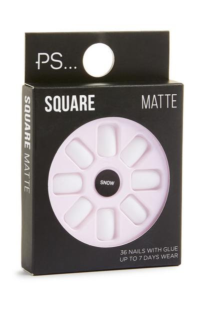 Square Matte White Stick On Nails