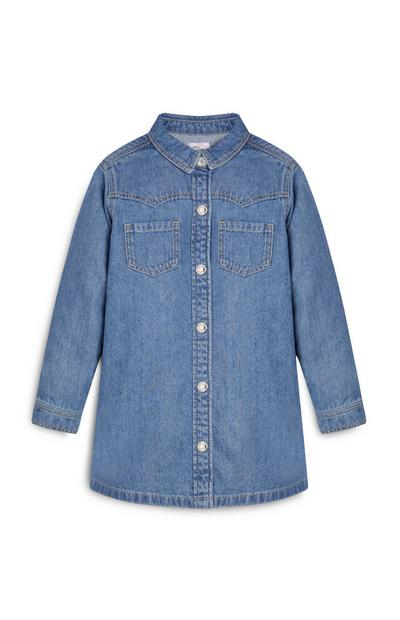 Younger Girl Blue Denim Shirt Dress