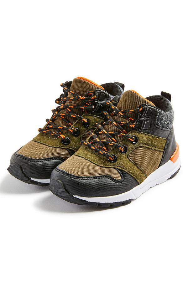 Kaki pohodniški čevlji iz filona za starejše fante