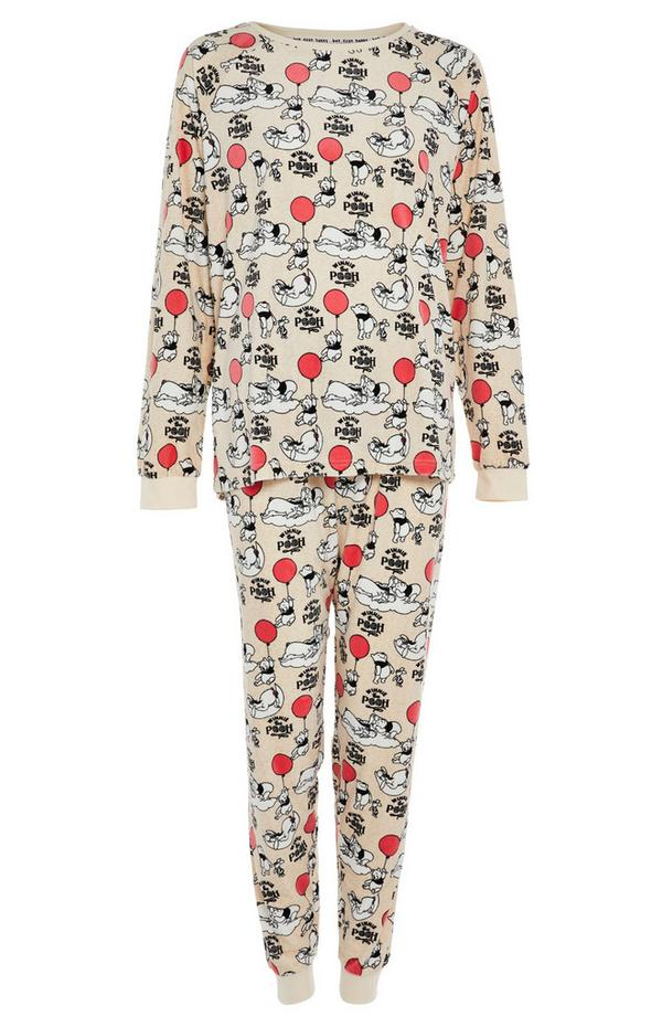 Beige Winnie The Pooh Minky Pyjama Set