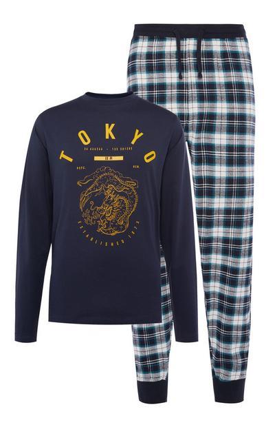 "Marineblaues ""Tokyo"" Jersey-Pyjamaset"