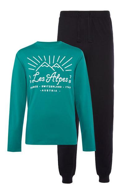 Turquoise en donkerblauwe pyjama Les Alpes van jersey