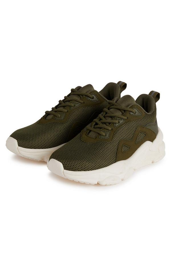 Older Boy Olive Sporty Chunky Phylon Sole Sneakers