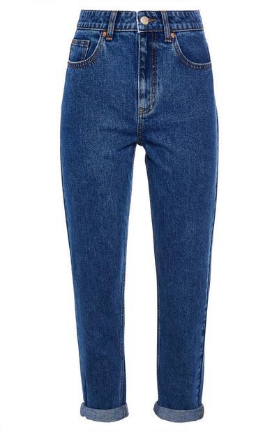 Blue High Waist Mom Jeans