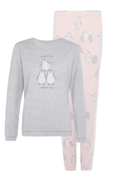 Grijs-roze knusse pyjamaset met pinguïns