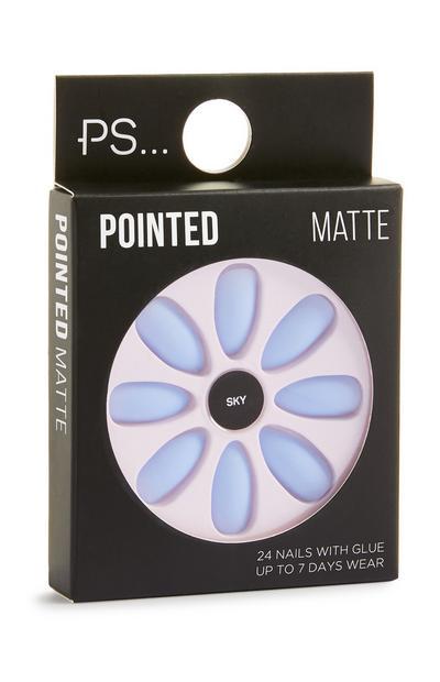 Uñas postizas «Pointed Matte» color azul