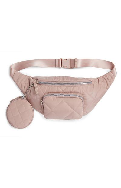 Blush Pink Nylon Quilted Bumbag