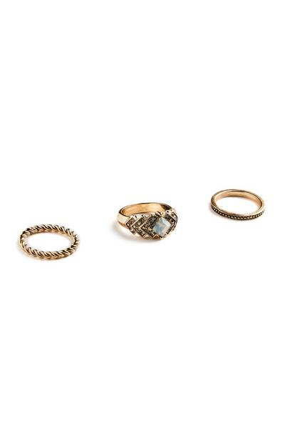 Goldfarbene Ringe, 3er-Pack