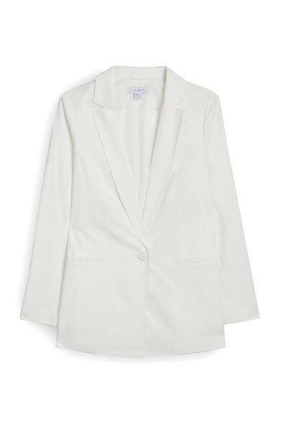White Single Button Blazer