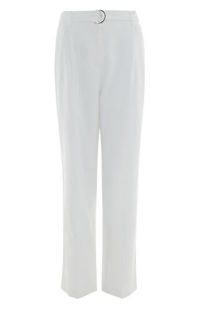 White Belted Loose Trousers