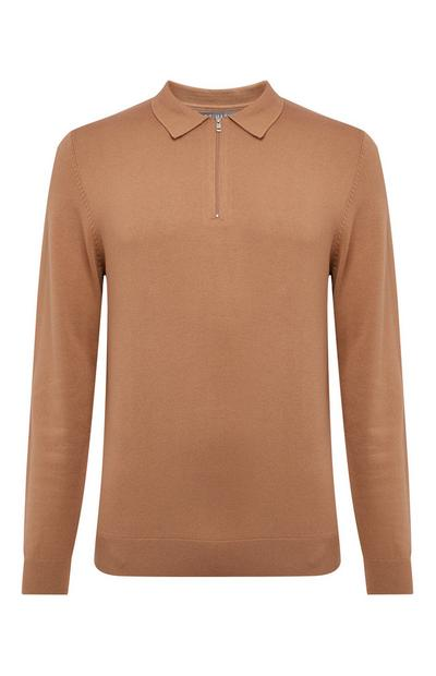 Brown Knit Polo Sweater