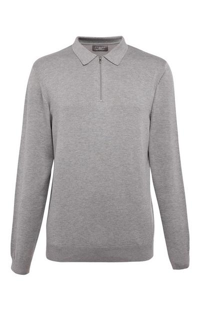 Gray Knit Polo Sweater