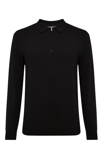 Black Knit Polo Sweater
