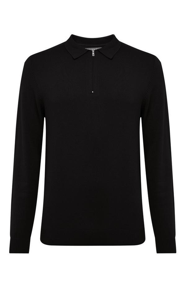 Pull noir tricoté à col roulé