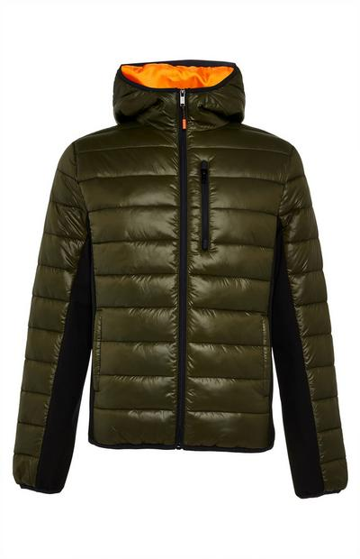Khaki and Orange Hybrid Sporty Puffer Jacket