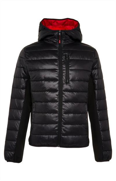 Black/Red Hybrid Sporty Puffer Jacket
