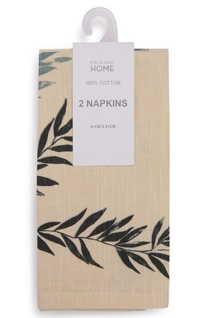 Cream Leaf Print Napkins 2 Pack