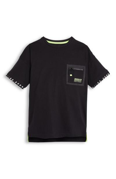 Older Boy Boxy Black Patch Pocket T-Shirt