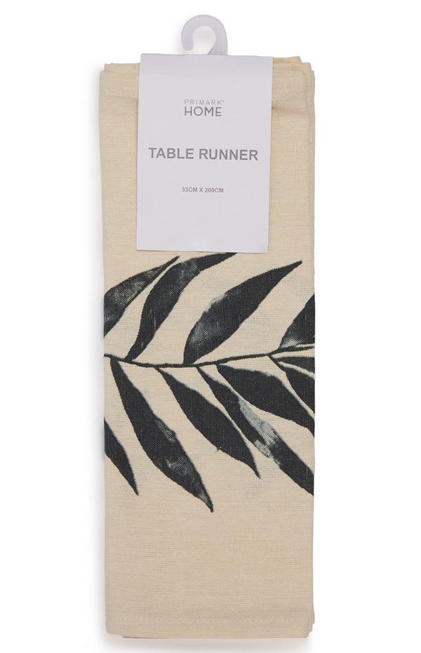 Cremefarbener Leinen-Tischläufer mit Blatt-Print