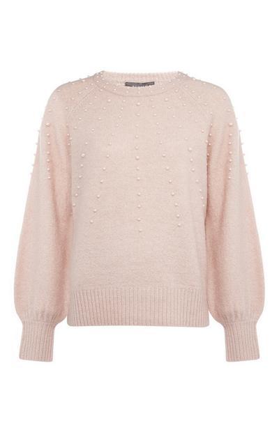 Blush Pearl Embellished Crew Neck Sweater